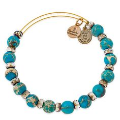 Alex and Ani Carousel Bangle Aqua - Russian Gold