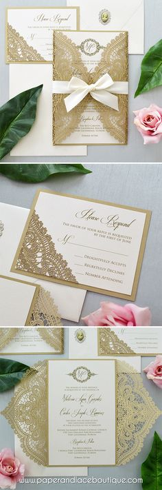 CHANTILLY LACE Laser Cut Wrap Invitation - Gold Laser Cut Wedding Invitation with Ivory Shimmer Insert and Ivory Ribbon Bow
