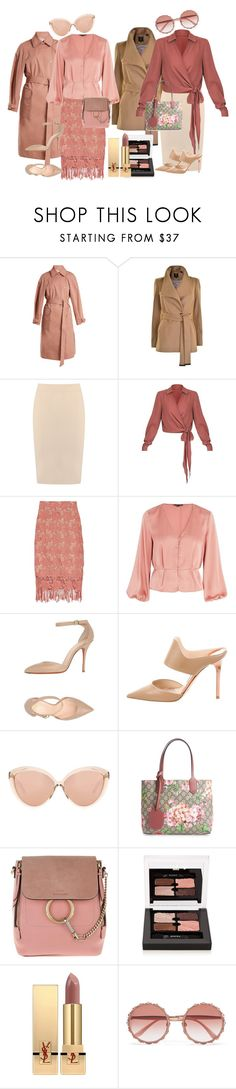 """Rose Beige in 2 Styles"" by lora-86 on Polyvore featuring Elizabeth and James, Ted Baker, Gloria Coelho, Alice + Olivia, Topshop, Santoni, Jimmy Choo, Linda Farrow, Gucci and Chloé"
