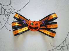 Halloween bow, Hair Ribbon, Halloween Accessory, Inspired from Halloween Sora (Kingdom Hearts)