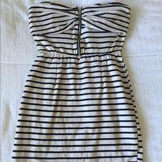 Mini dress Stripe strapless dress with zipper Dresses Strapless