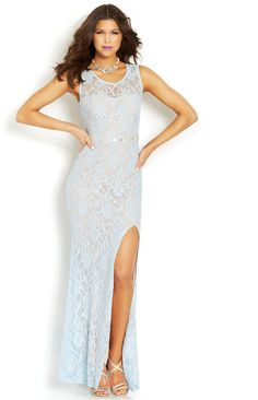 Blondie Nites Juniors' One-Shoulder Ombre Gown - Juniors Dresses ...