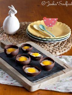 Schokoei mit Quark und Mangopüree Desserts Ostern, Cake & Co, Bakery, Food And Drink, Eggs, Pudding, Cheese, Chocolate, Sweet