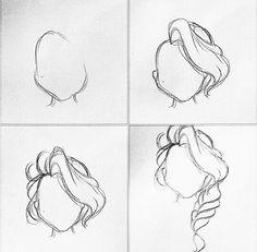 Cool Art Drawings, Pencil Art Drawings, Art Drawings Sketches, Easy Drawings, Drawing Hair Tutorial, Drawing Tutorials, Art Tutorials, Braid Drawing, Drawing Step