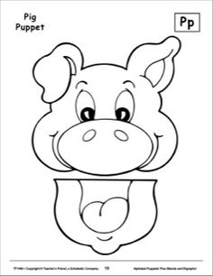 Image result for animal paper bag puppets templates for Pig puppet template