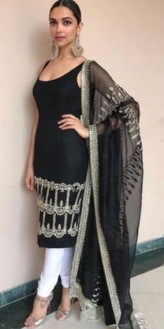 Yay or Nay? Deepika Padukone wearing a black and white sleevless ethnic indian s. - Yay or Nay? Deepika Padukone wearing a black and white sleevless ethnic indian suit by Sabyasachi a - Mode Bollywood, Bollywood Fashion, Designer Kurtis, Dress Indian Style, Indian Dresses, Indian Attire, Indian Wear, Indian Party Wear, Style Deepika Padukone