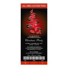 Elegant Holiday Party Invitations Ticket Style #holiday #party #ticket #invitations #christmas