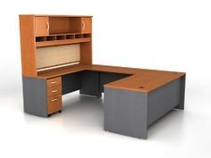 U Shaped Desk with Hutch JLA254 by Bush. $1737.00. File drawer accommodates letter and legal files. Bottom 2 drawers lock for security. Ships ready for easy assembly - pedestal ships assembled. Hutch with open and closed storage. Durable laminate finish. U Shaped Desk with HutchbyBush Trusted: 20+ Years Experience. Overall: 71 in W x 100.5 in D x 72.88 in H ,