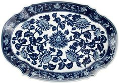 AA Importing 19 Floral Platter, Blue/White