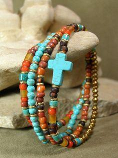 Womens Bracelet - Turquoise Bracelet - Cross Bracelet - Tribal Bracelet - Beaded Bracelet - Ethnic Jewelry - Southwest Native. $38.00, via Etsy. by cherry