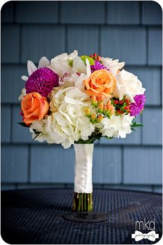 Jeff French Designs - Bridal Bouquet with Purple Dahlias, and Orange & White Roses, via Flickr.