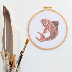 Japanese KOI CARP cross stich, modern tattoo cross stitch animal hand embroidery fish designs, traditional asian xstitch xstich stiched pdf