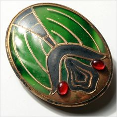 Bohemian Antique Vintage Art Nouveau green crystal glass brooch gold paint scarab beetle E711-159 on Etsy, Sold