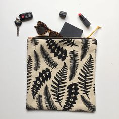 Large Zipper Pouch  Hand Printed Linen Pouch by BonnieKayeStudio