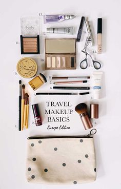 Genius Makeup Tips for Travelers – Travel Makeup Basics – Going On A Trip Or Holiday? You Need To Look As Good As Ever And You Can Do That By Identifying Your Essentials And Then Using Organization To Pack Light And Still…Read Packing Tips For Travel, Travel Essentials, Travel Hacks, Travel Guide, Makeup Bag Essentials, Beauty Essentials, Packing Hacks, Carry On Bag Essentials, Airplane Essentials