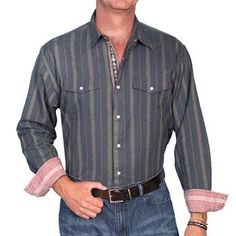 Scully Men's Signature Striped Long Sleeve Western Shirt