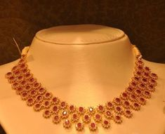 Latest Indian Jewellery designs and catalogues in gold diamond and precious stones Gold Ruby Necklace, Ruby Jewelry, Gold Jewellery, Necklace Set, Diamond Necklaces, Short Necklace, Jewelry Sets, Ruby Bangles, Quartz Jewelry