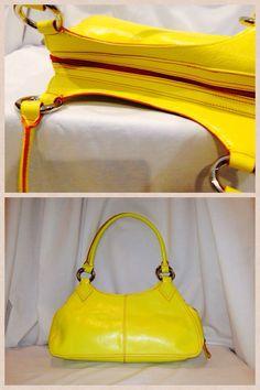 "Franco Sarto Yellow Leather with Orange Thread 15"" high X 13"" long Silver Hardware.  Starting bid $25"