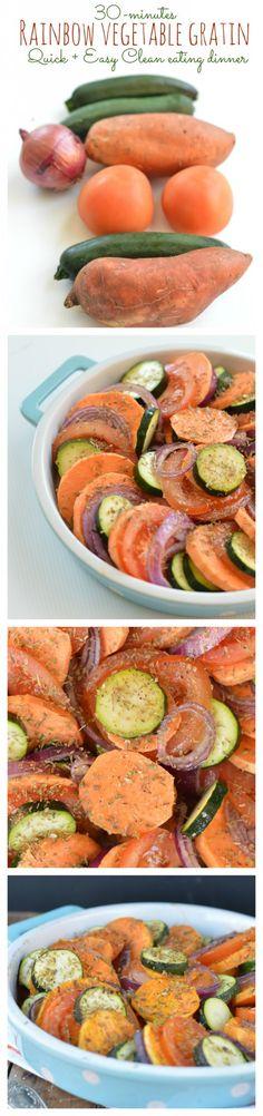 Rainbow Vegetable Gratin 30-minutes, 6 ingredients clean dinner. Vegan + dairy free. by www.sweetashoney.co