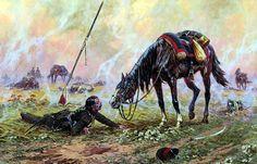 Cosaque russe 1814 tombé de son cheval lors de la charge