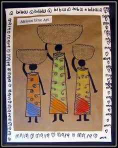 Plateau art studio african line art how to African Art For Kids, African Art Projects, African Crafts, African Children, Afrique Art, Arte Tribal, 4th Grade Art, Art Terms, Thinking Day