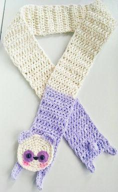 Cute crocheted panda bear scarf~! https://www.etsy.com/listing/250694779/kawaii-soft-purple-and-cream-panda-bear