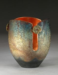 "Marc Jenesel - Raku vessel WB 1000 GLOWPOT - 9.25"" h x 7.25"" dia. Raku pottery lined with copper leaf (3 slots), curved rim, picture jasper, copper"