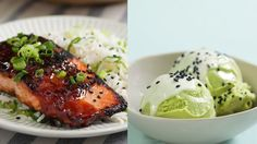 Recipe with video instructions: We know what's for dinner and dessert tonight — savory glazed salmon and a sweet frozen treat to go with it. Ingredients: For the salmon:, 1/4 cup low-sodium soy sauce, 1/4 cup honey, 3 cloves garlic, grated, 1 tablespoon sake, 1 teaspoon miso paste, 1 teaspoon freshly grated ginger, 2, 8-ounce salmon fillets, skin removed, 2 tablespoons vegetable oil, For the coconut scallion rice:, 1 3/4 cups water, 1 (13.6-ounce) can coconut milk, 1/2...