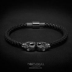 """modamasculina: """"A NOVA pulseira Black Nappa Leather / Gunmetal Black Twin Skull da @Northskull é perfeita para ocasiões formais e casuais. O estilo luxuoso das caveiras gêmeas em metal negro faz dela uma peça excepcional. Disponível agora em Northskull.com [Frete mundial] #Luxury #Jewelry #MensFashion"""""""