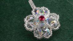 Four leaf clover pendant made out of Swarovski and Miyuki beading tutorial   Handmade tutorials collection