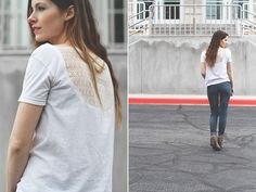 ShoeMint Giveaway + DIY t-shirt into low back or lacey back top