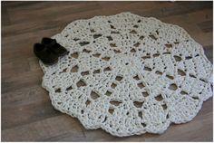 Cream lace Doily Rag Rug - etsy