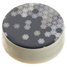 Icy Blue And Gray Winter Snowflake Hexagons