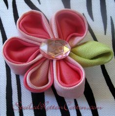 Folded Pink Punch Fabric Hair Flower Hair Clip (perfect for little girls to adults!)