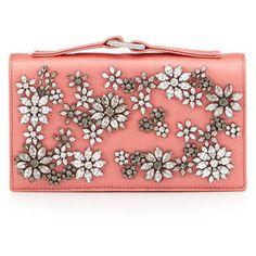 Valentino Floral-Rhinestone Satin Evening Clutch Bag