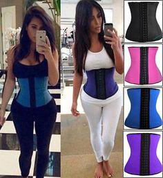 Women-Latex-Rubber-Waist-Training-Cincher-Underbust-Corset-Body-Shaper-Shapewear