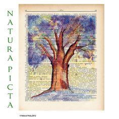 Watercolor tree dictionary print  Tree of dreams by naturapicta, $7.99