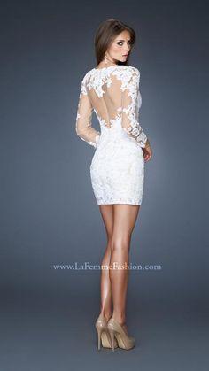 La Femme 18979 | La Femme Fashion 2013 - La Femme Prom Dresses - Lace cocktail dress with lace appliqué on the sheer top, back and sleeves
