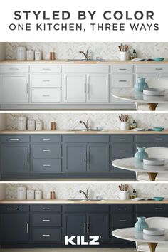 Whether you prefer kitchen cabinets in crisp white, moody black or something in between, this home renovation project is one that makes a big impact in a short amount of time. Kitchen Cabinet Colors, Painting Kitchen Cabinets, Kitchen Paint, Kitchen Redo, Kitchen Colors, Home Decor Kitchen, Kitchen Interior, Home Kitchens, Kitchen Remodel