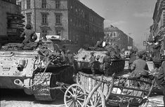 Russian SpG's in a german(?) city