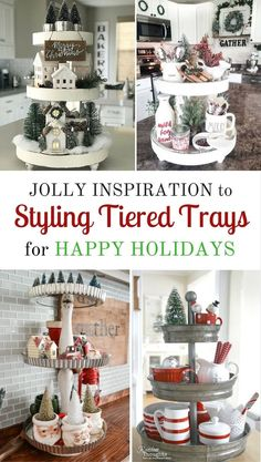 Styling tiered trays to help your home say happy holidays is what we have in store for you today. We have a fun little surprise in this round up. Farmhouse Christmas Decor, Country Farmhouse Decor, Christmas Kitchen, Rustic Christmas, Christmas Home, Christmas Holidays, Coastal Christmas, Christmas Mugs, Christmas Mantels