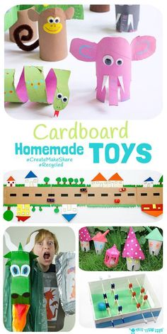 Inspire creativity and imaginative play ideas with recycled Cardboard Homemade Toys! Kids will love to play with something they've helped to make and it's great for building their environmental awareness too. #kidscraftroom #homemadetoys #toys #cardboard #recycled #kidscrafts #recycledcrafts #cardboardcrafts #craftsforkids #kidscreate #kidsactivities Easy Crafts For Kids, Craft Activities For Kids, Diy For Kids, Projects For Kids, Fun Crafts, Craft Projects, Craft Ideas, Recycled Toys, Recycled Crafts