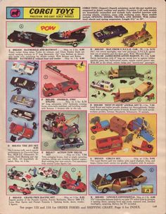 Corgi Cars from the Batmobile Green Hornet's Black Beauty, James Bond's Austin Martin 1960s Toys, Retro Toys, Vintage Toys, Vintage Games, Corgi Husky, Toy Catalogs, Corgi Toys, Popular Toys, Batmobile
