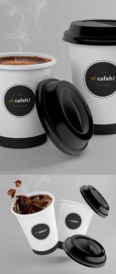 Free El Cafeh Coffee Cup Mockup PSD (293 MB)   By Graxaim Mockup on…