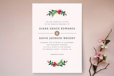 Simple Flora Wedding Invitations by Kristen Smith at minted.com