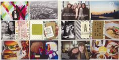 Tags business cards and simple stapled circle embellishments on photos