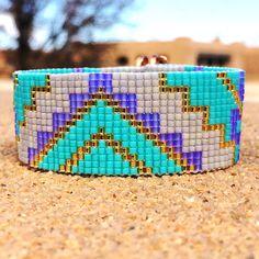 Turquoise perle lavande Loom Bracelet bohémien Boho par PuebloAndCo