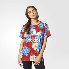 adidas Originals Floral-Print Boyfriend T-Shirt - Multicolor XS Cute Fashion, Fashion Outfits, Fashion Trends, Adidas Outfit, Boyfriend T Shirt, Sporty Style, Nike, Adidas Women, Casual