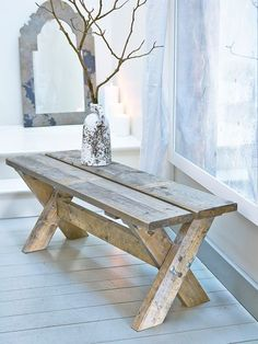 For some truly pared-back, relaxed living, this wonderfully uber rustic wooden bench will be useful addition to any space. Rustic Wooden Bench, Wooden Pallet Furniture, Wooden Pallets, Wooden Diy, Rustic Furniture, Diy Furniture, Pallet Sofa, Furniture Outlet, Modern Furniture