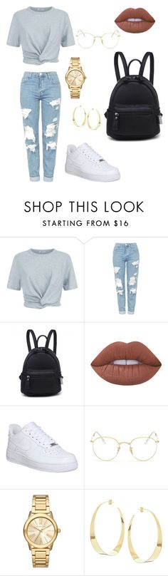 """"" by elinevanhoutx ❤ liked on Polyvore featuring T By Alexander Wang, Topshop, Lime Crime, NIKE, Ray-Ban, Michael Kors and Lana"